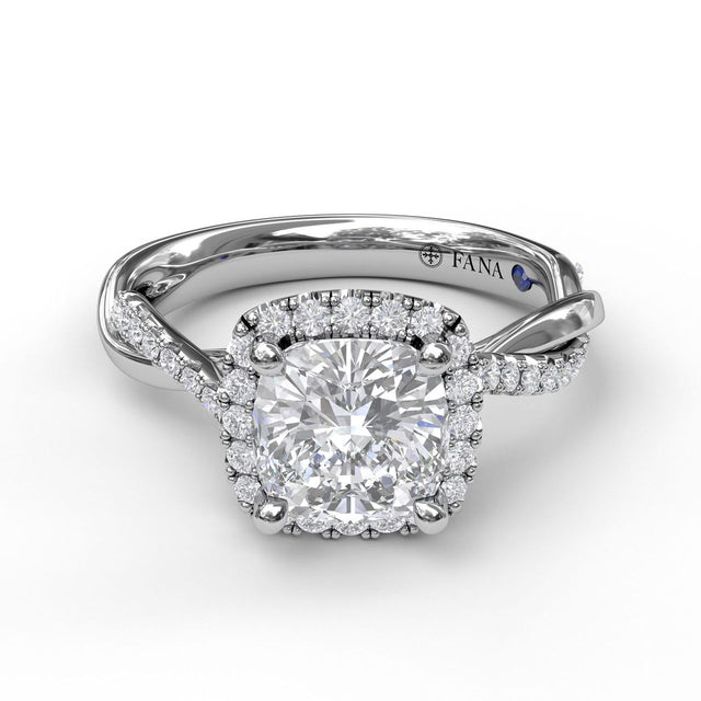 Halo Engagement Ring With Criss Cross Diamond Band 3062 - Chalmers Jewelers