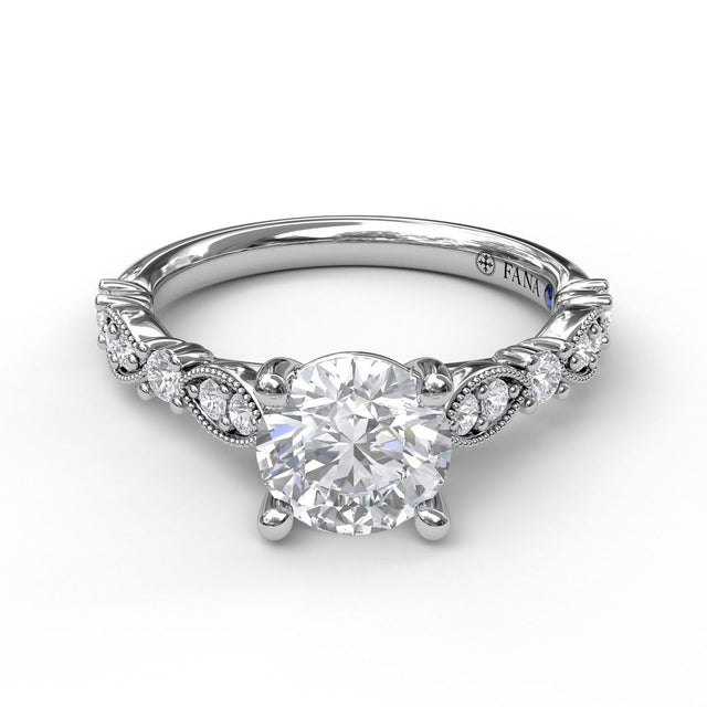 Classic Diamond Engagement Ring with Detailed Milgrain Band 3064 - Chalmers Jewelers
