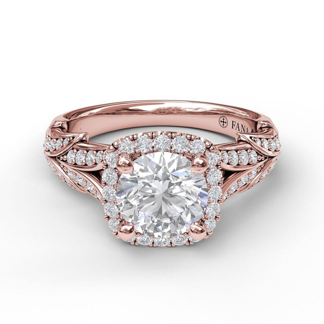 Cushion Halo Engagement Ring With Leaf Motif 3068 - Chalmers Jewelers
