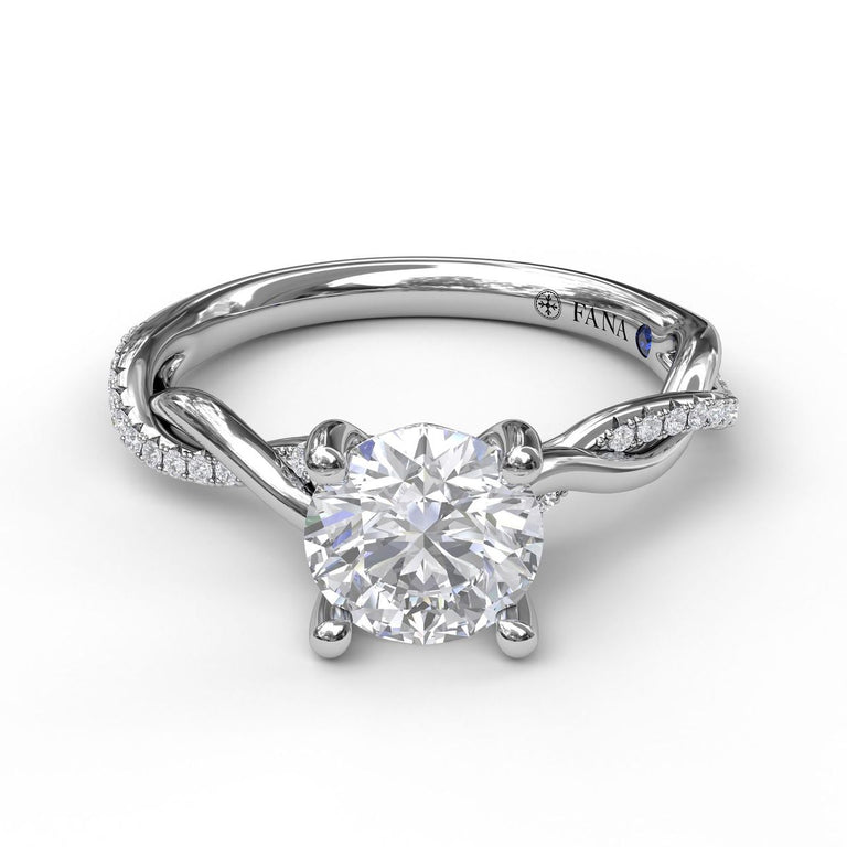Round Cut Solitaire With Interwoven Band 3076 - Chalmers Jewelers