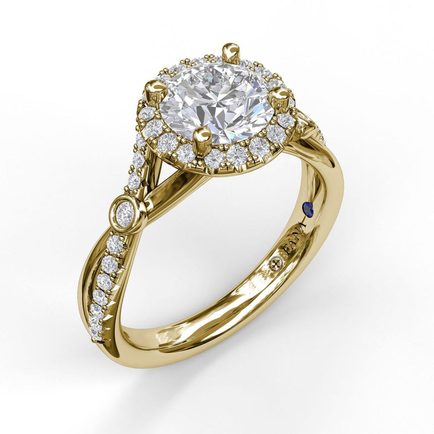 Round Halo Ring With Twisted Pave Band 3077 - Chalmers Jewelers