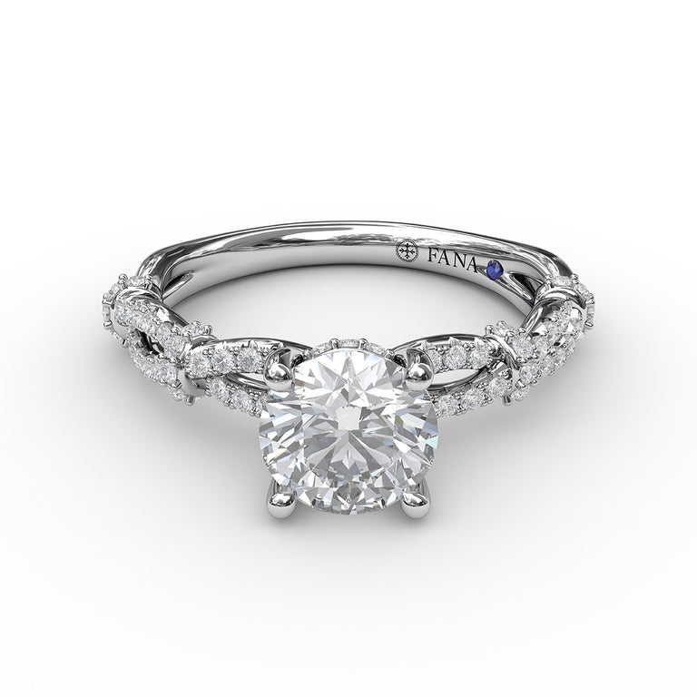 Interwoven Engagement Ring with Delicate Diamond Accents 3084 - Chalmers Jewelers