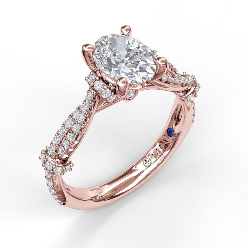 Interwoven Oval Engagement Ring with Delicate Diamond Accents 3086 - Chalmers Jewelers