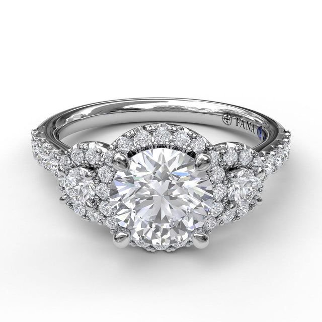 Three Stone Halo Engagement Ring 3405