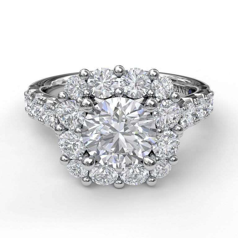 Large Diamond Cushion Halo Engagement Ring 3459 - Chalmers Jewelers