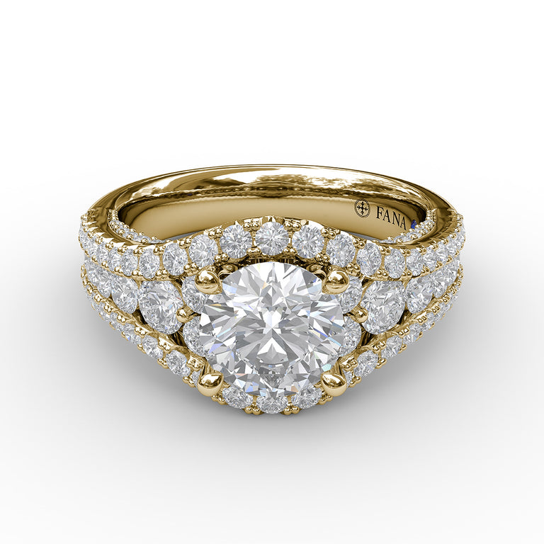 Graduated Diamond Encrusted Engagement Ring 3465 - Chalmers Jewelers