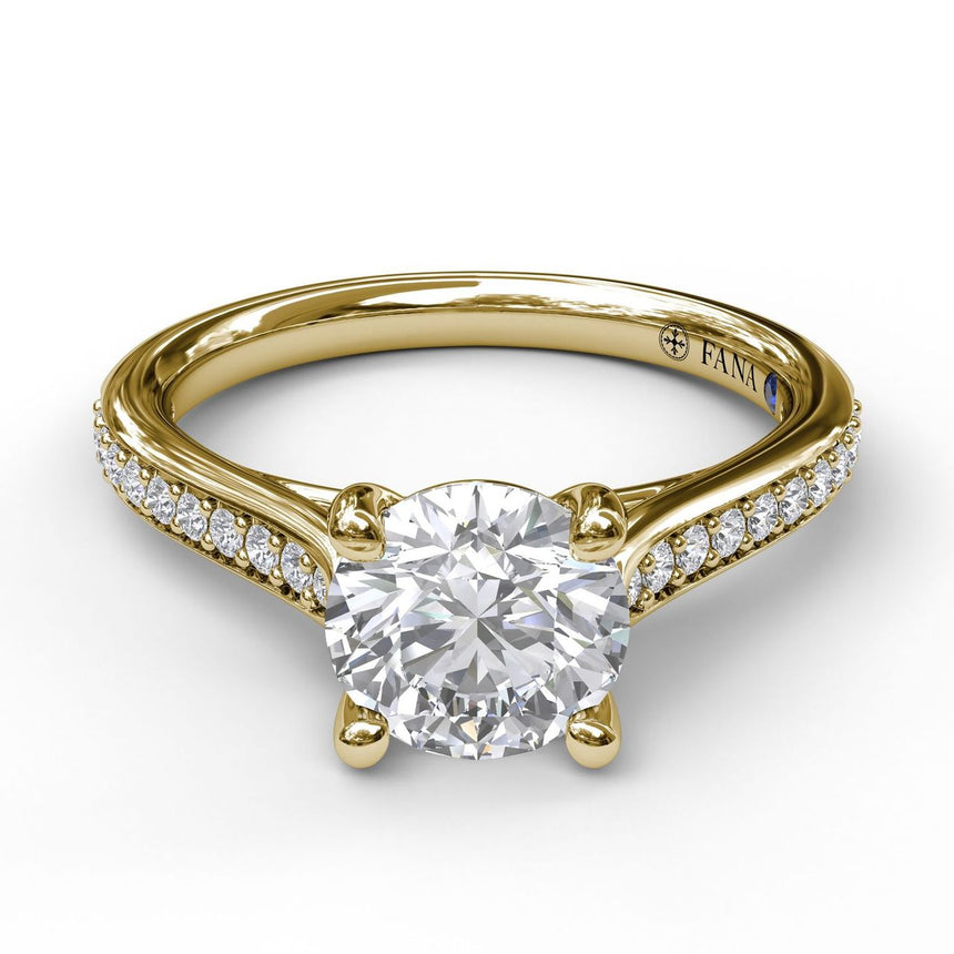 Cathedral Single Row Pave Engagement Ring 3532 - Chalmers Jewelers