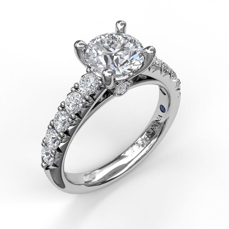 Handset French Pave Diamond Engagement Ring 3684 - Chalmers Jewelers