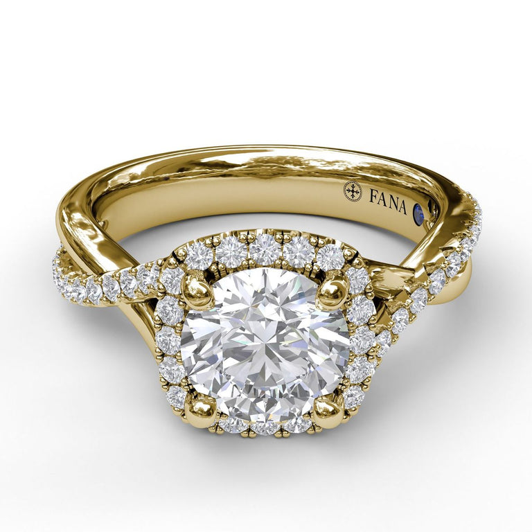 Cushion Halo With Diamond And Gold Twist Engagement Ring 3755 - Chalmers Jewelers
