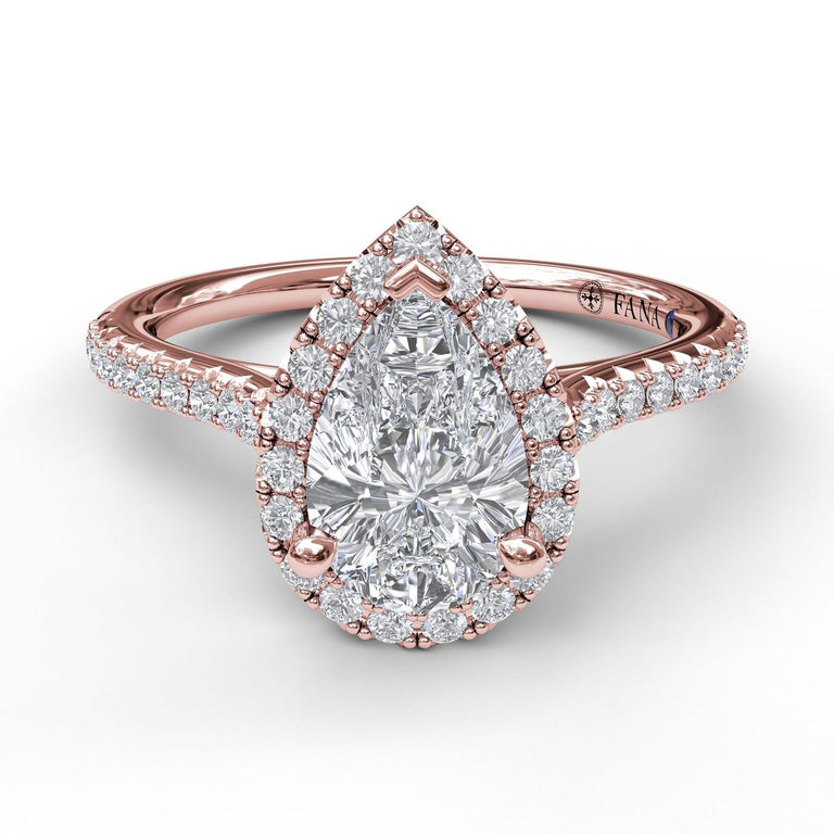 Delicate Pear Shaped Halo And Pave Band Engagement Ring 3791 - Chalmers Jewelers