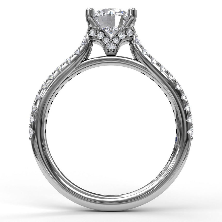 Delicate Classic Engagement Ring with Delicate Side Detail 3818 - Chalmers Jewelers