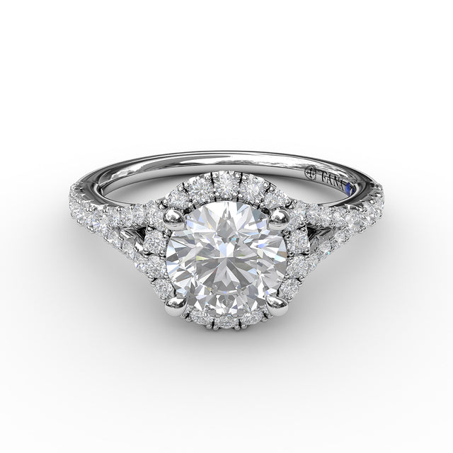 Classic Diamond Halo Engagement Ring with a Subtle Split Band 3843