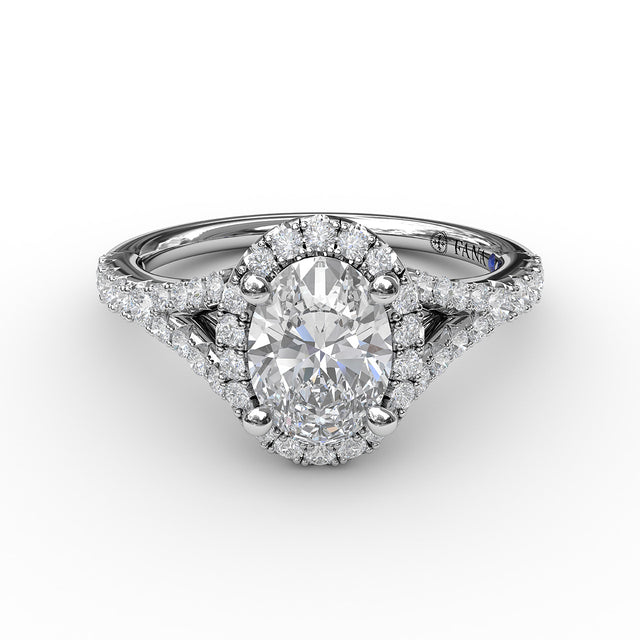 Classic Diamond Halo Engagement Ring with a Subtle Split Band 3845