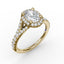 Classic Diamond Halo Engagement Ring with a Subtle Split Band 3845 - Chalmers Jewelers