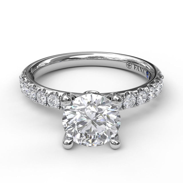 Classic Pave Round Cut Engagement Ring 3846