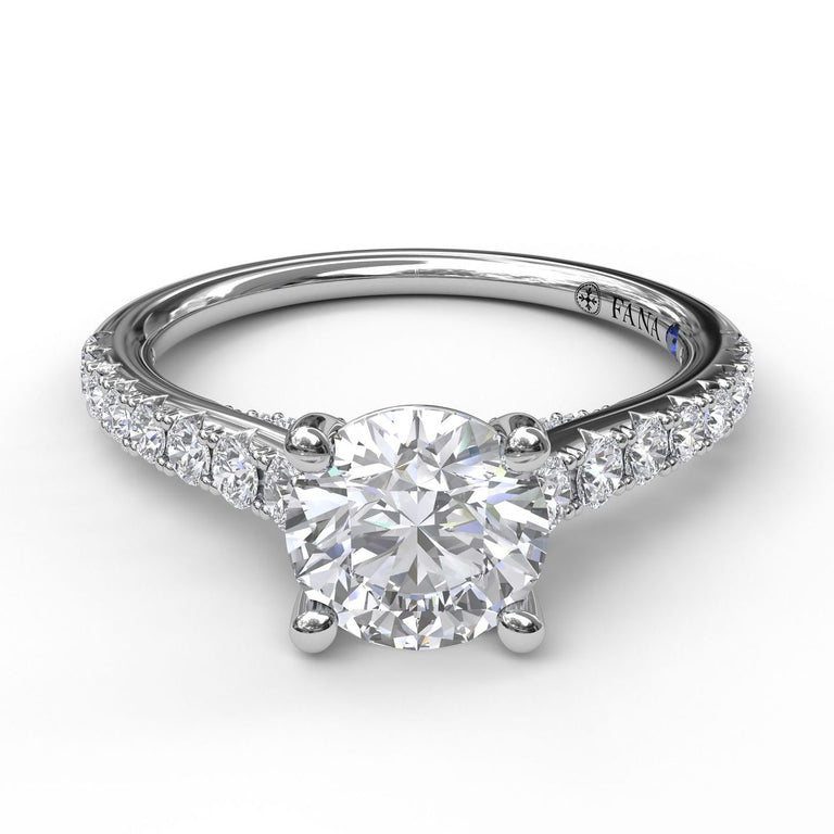 Delicate Classic Engagement Ring with Delicate Side Detail 3862 - Chalmers Jewelers