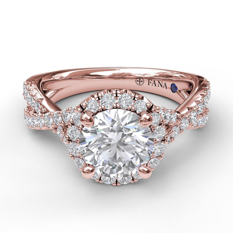 Round Halo Twist Engagement Ring 3990 - Chalmers Jewelers