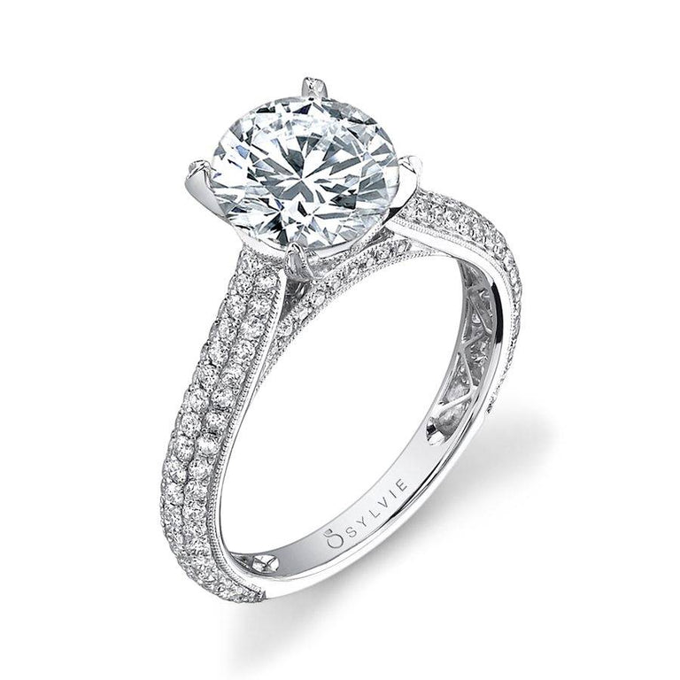 Micro Pave Solitaire Engagement Ring SY090 - Chalmers Jewelers
