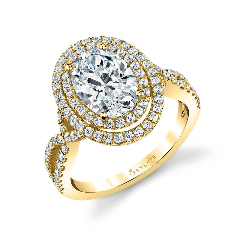 Double Halo Split Shnak Engagement Ring SY260-DH-OV - Chalmers Jewelers