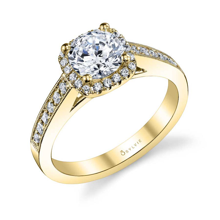 Vintage Inspired Round Engagement Ring With Cushion Halo SY652 - Chalmers Jewelers