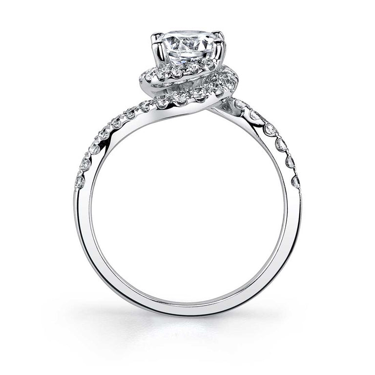 Modern Swirl Halo Engagement Ring SY804 - Chalmers Jewelers