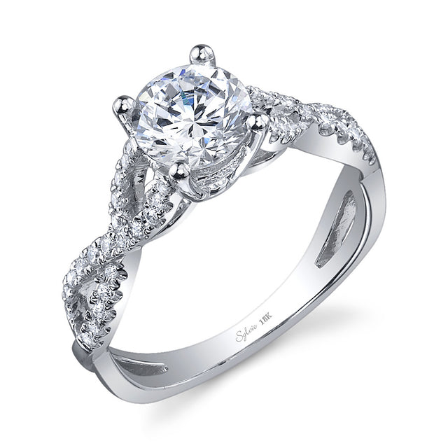 Modern Criss-Cross Diamond Engagement Ring