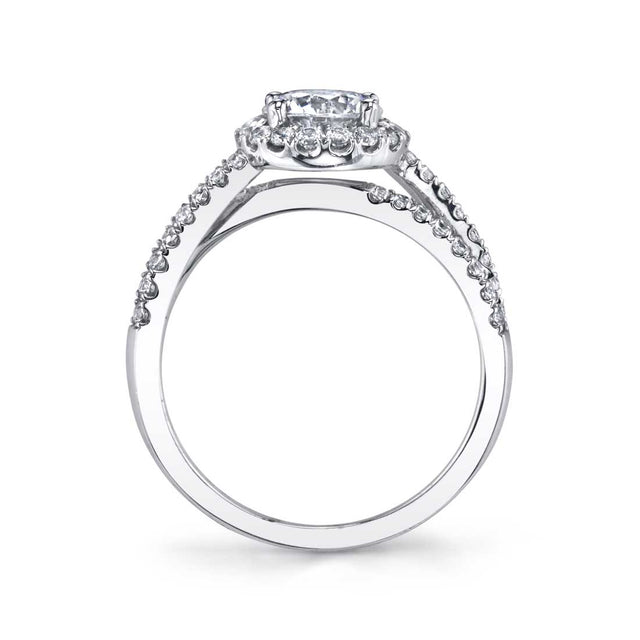 Split Shank Engagement Ring With Halo SY971 - Chalmers Jewelers