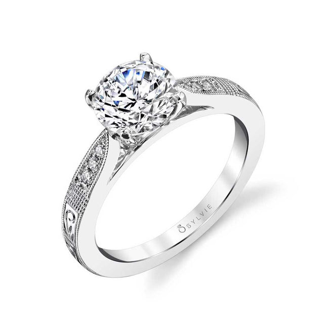 Hand Engraved Solitaire Engagement Ring S1386 - Chalmers Jewelers