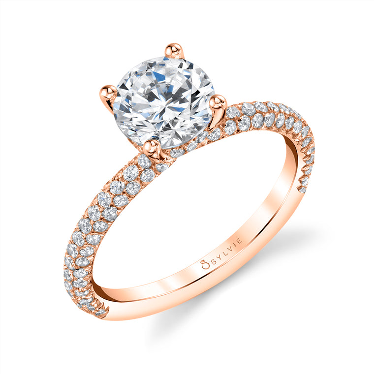 Solitaire Engagement Ring With Pave Diamonds S1633 - Chalmers Jewelers