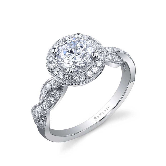 Spiral Halo Engagement Ring SY897 - Chalmers Jewelers