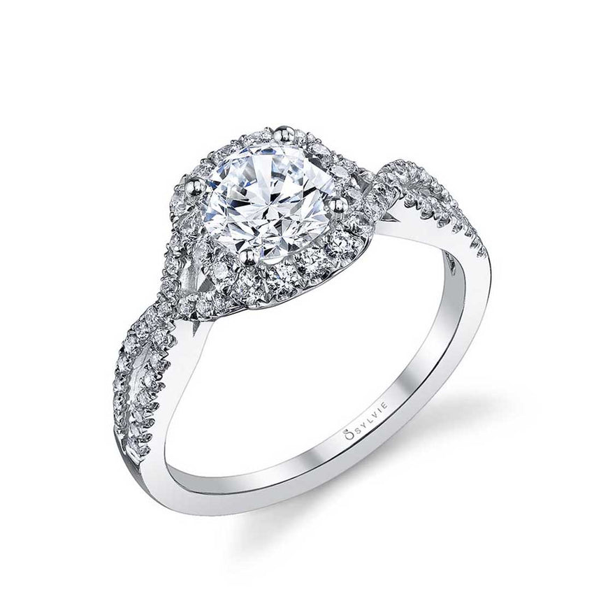 Classic Spiral Halo Engagement Ring S1078 - Chalmers Jewelers