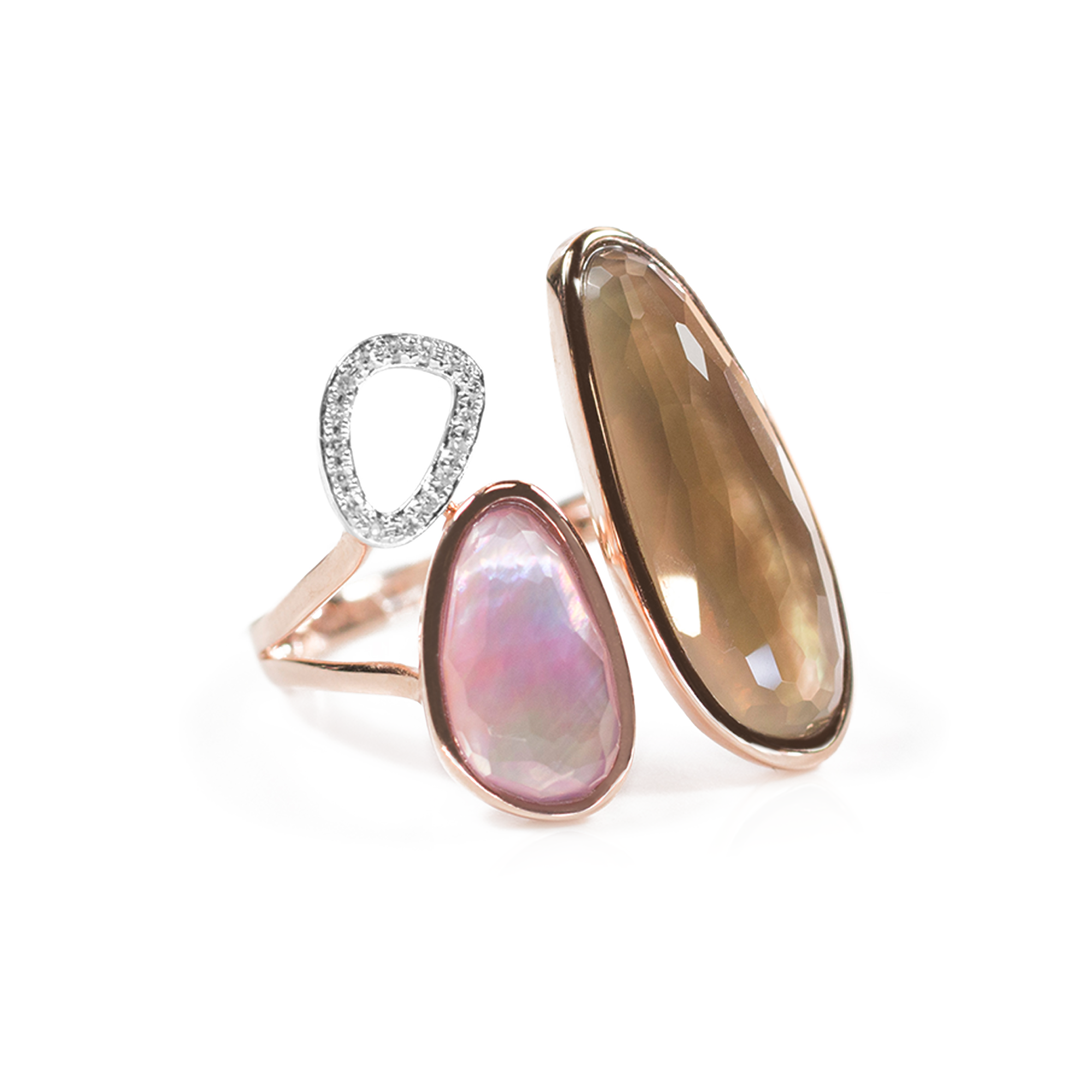 Sophia Diamond Mother of Pearl Amethyst and Smokey Quartz Ring