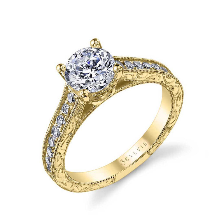 Round Vintage Hand Engraved Engagement Ring SY986 - Chalmers Jewelers