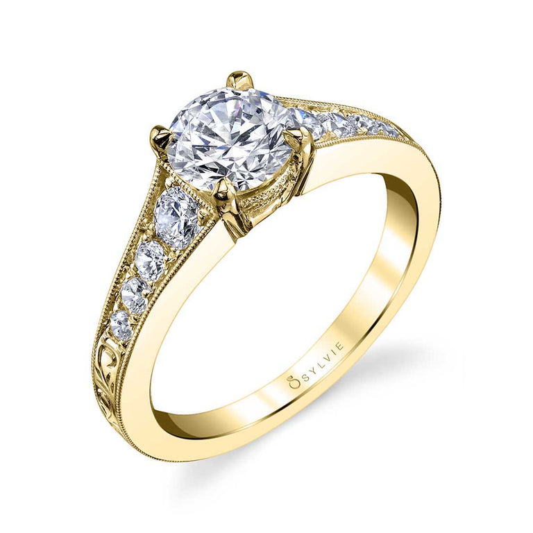 Vintage Inspired Solitaire Engagement Ring S1350 - Chalmers Jewelers