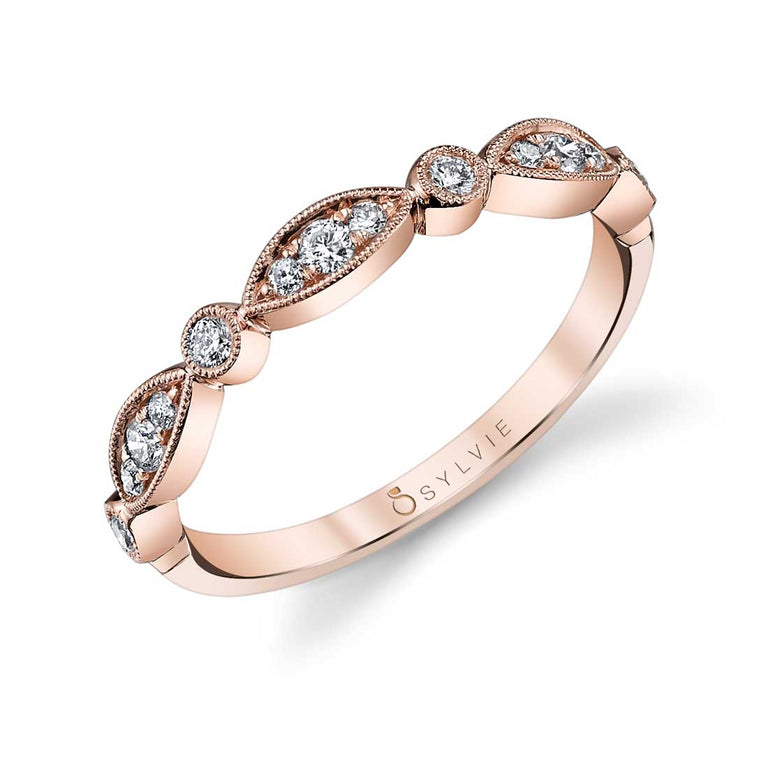 Sylvie Vintage Inspired Stackable Wedding Band - B0011 - Chalmers Jewelers