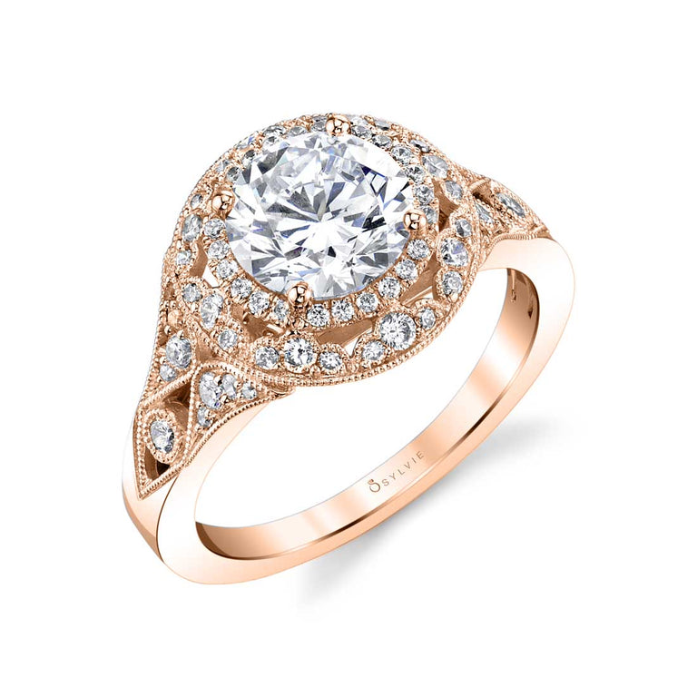 Vintage Inspired Double Halo Engagement Ring S1911-RB - Chalmers Jewelers