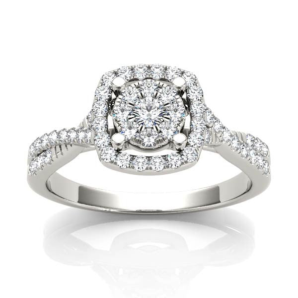 Rounded Square Halo With Twist Engagement Ring