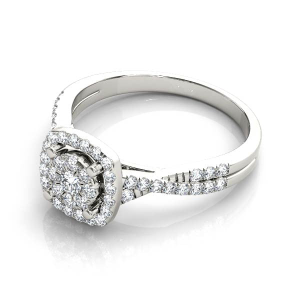 Rounded Square Halo With Twist Engagement Ring - Chalmers Jewelers