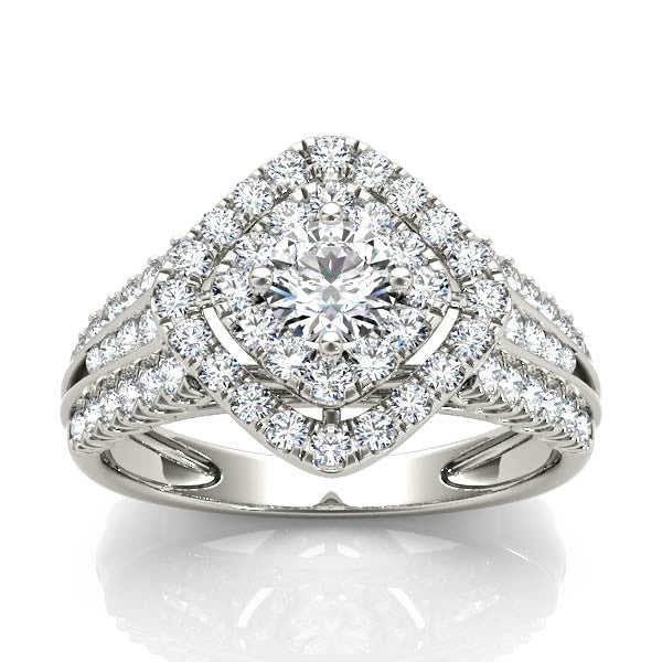 Rotated Square Halo Engagement Ring