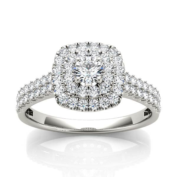 Double Square Halo Engagement Ring - Chalmers Jewelers