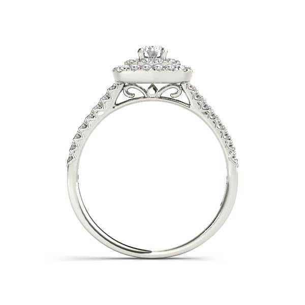 Double Square Halo Engagement Ring
