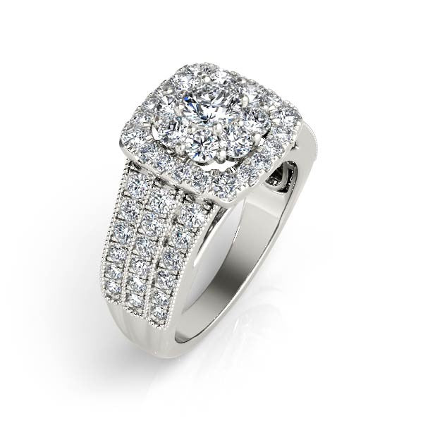 Three-Row Double Halo Engagement Ring