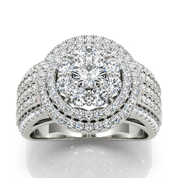 Five-Row Triple Halo Engagement Ring