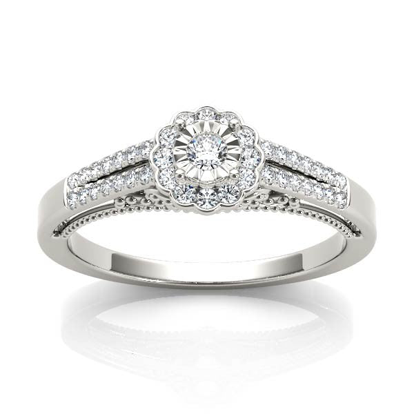 Petite Floral Engagement Ring