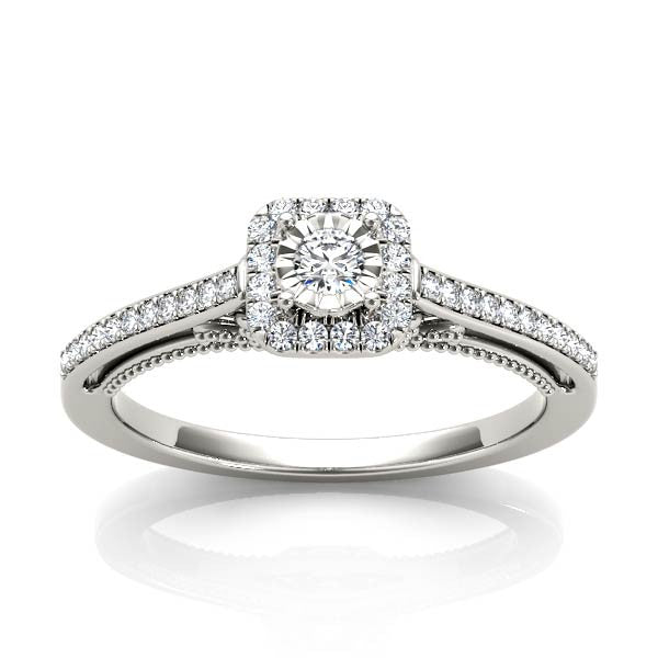 Petite Square Halo Engagement Ring - Chalmers Jewelers