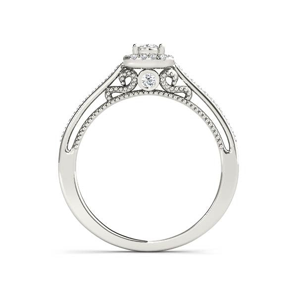 Petite Square Halo Engagement Ring