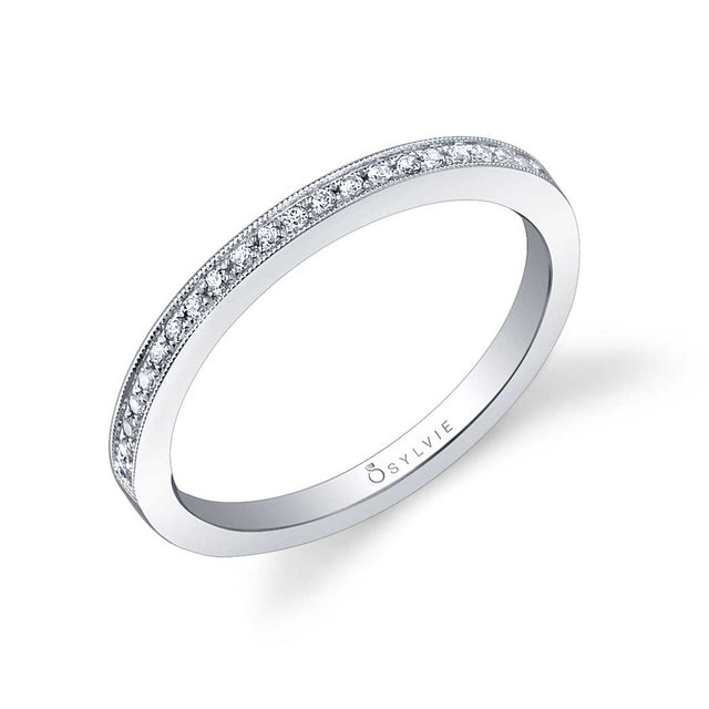 Diamond Wedding Band With Milgrain Accents BSY310 - Chalmers Jewelers