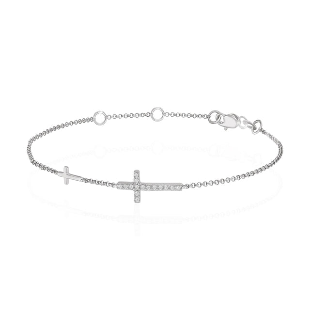14k Diamond Cross Bracelet