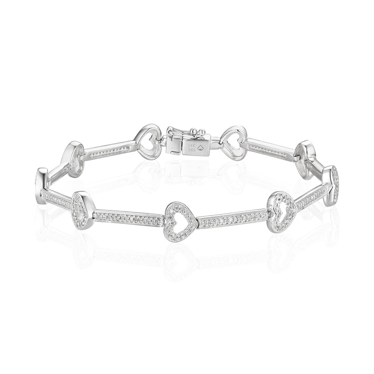 14k Diamond Heart Bracelet