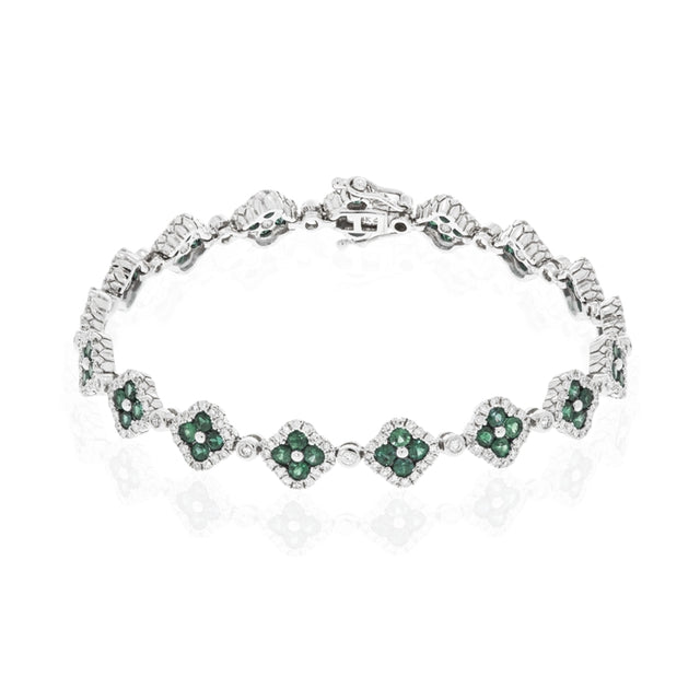 14k White Gold Emerald and Diamond Clover Bracelet - Chalmers Jewelers